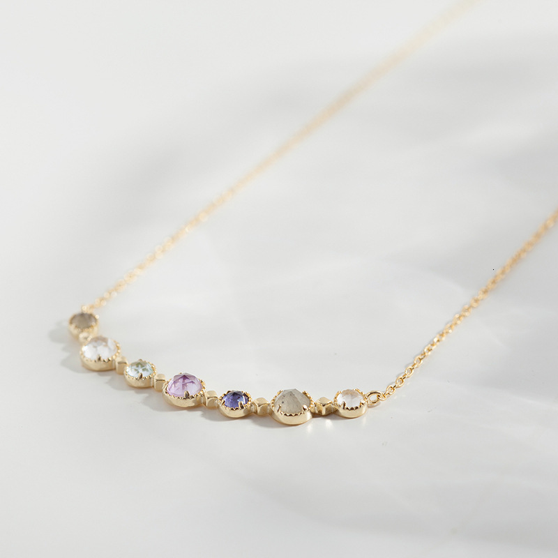 925 Sterling Silver Gold Plated Color Topaz Amethyst Labradorite Choker Necklace Luxury Japan Gemstone Necklaces  Fine Jewelry