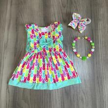 Easter baby girls spring summer children clothes colorful milk silk short sleeve dress bunny knee length match accessories
