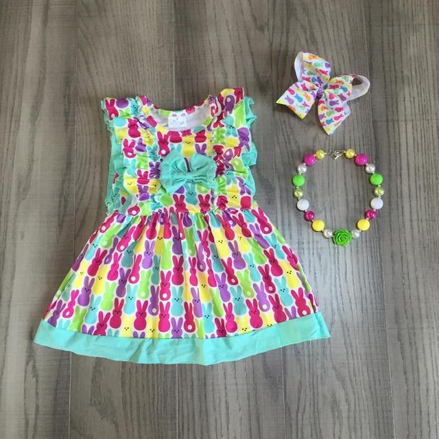 Paskalya bebek kız İlkbahar yaz çocuk giysileri renkli süt ipek kısa kollu elbise bunny diz boyu maç aksesuarları