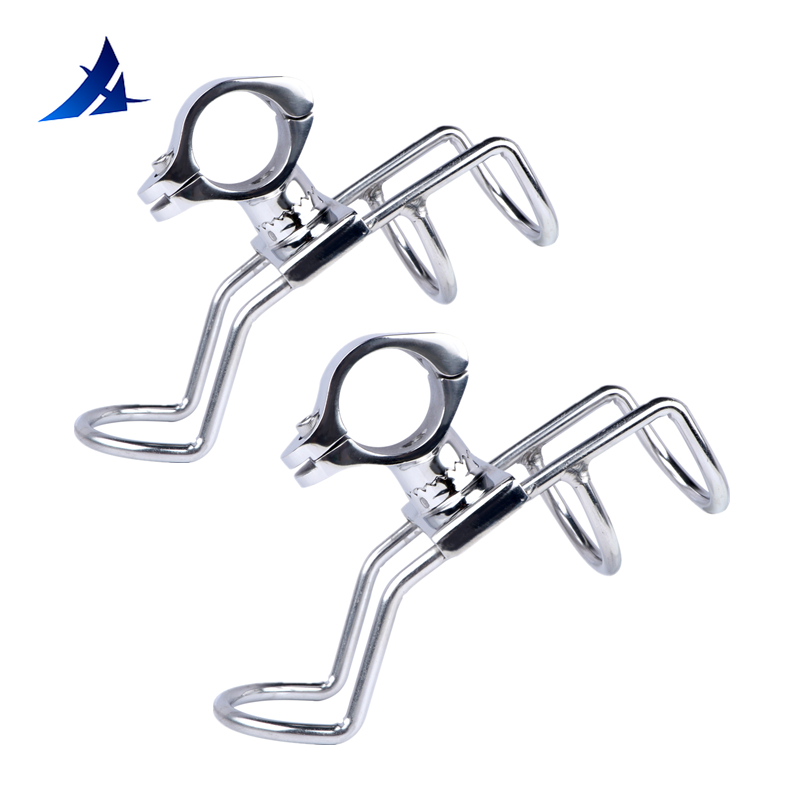2 PCS 316 Stainless Steel Rail Mounted Clamp On Rod Holder Double Wire Stainless Steel For Fishing Boat Kayak