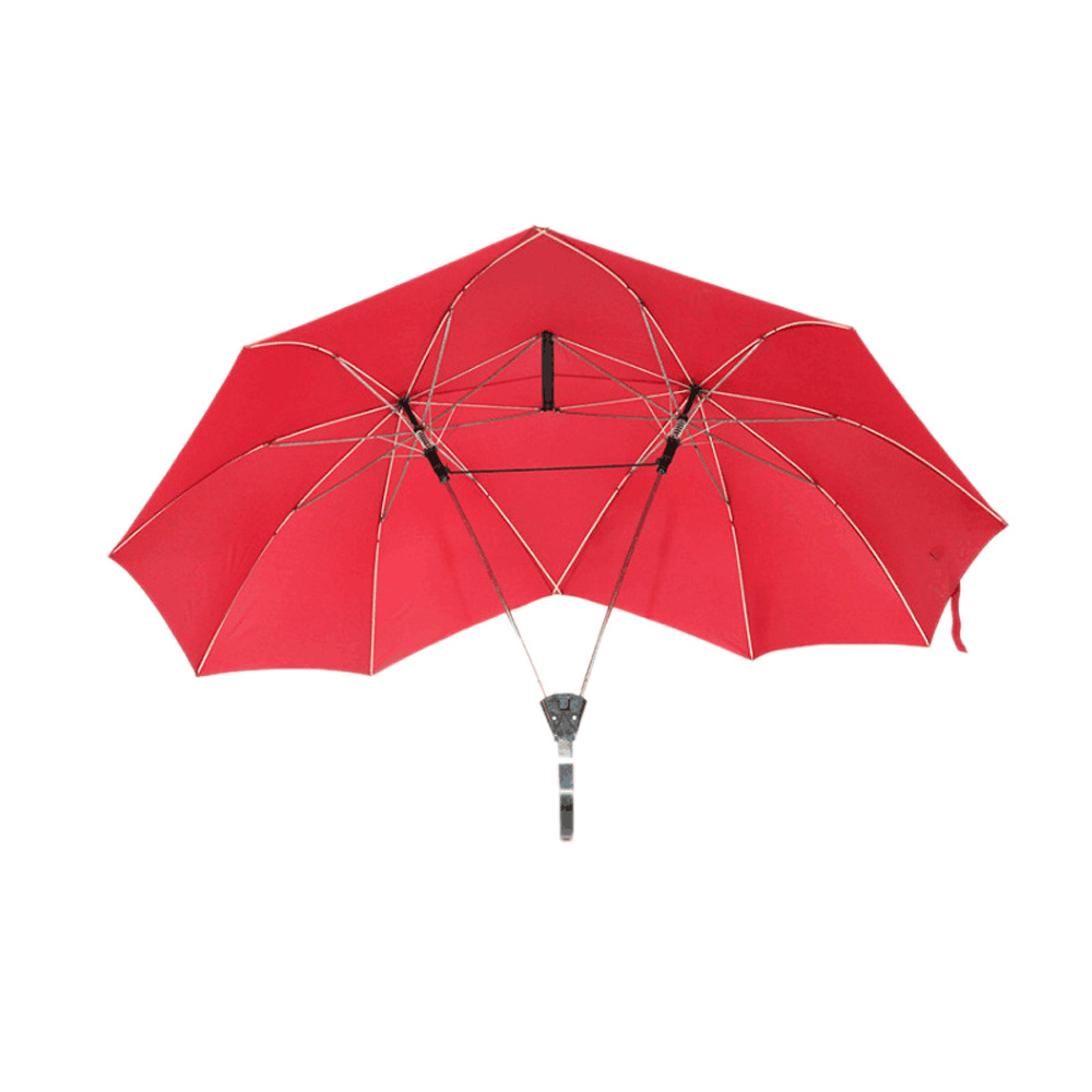 Creative Shuang Ren San Couples Double Headed Double Poles One-piece Umbrella All-Weather Umbrella Customization Of Individual C