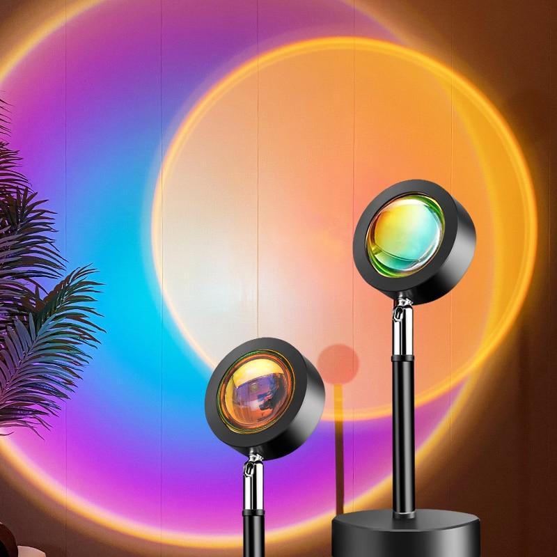 Светильник для заката, проектор заката, атмосферный светодиодный светильник, ночники для бара, кофейни, магазина, настенное украшение, фон д...