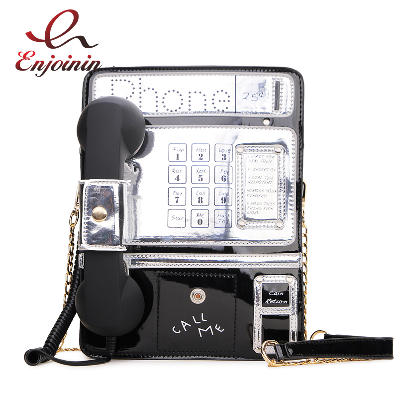 Black & Red Patent Leather Phone Style Women Fashion Chain Purses And Handbags Shoulder Bag Crossbody Messenger Bag Tote Bags