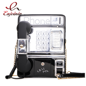 Black & Red Patent Leather Phone Style Women Fashion Chain Purses and Handbags Shoulder Bag Crossbody Messenger Bag Tote Bags fashion checked and black design women s shoulder bag