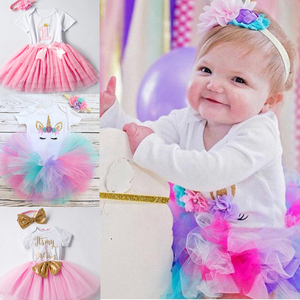3 pcs 1 year old baby girl birthday dress Baby girl birthday costume first birthday party dress baby girl winter clothes