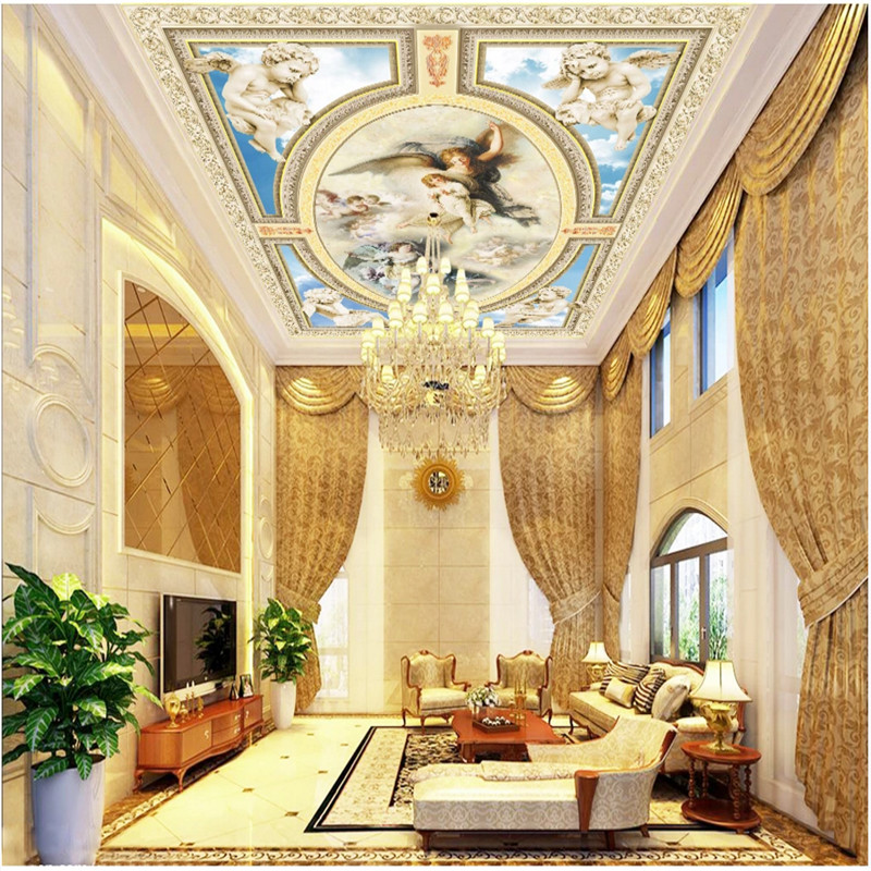 European Large HD Angels Mother Love Mural Wallpaper 3D for Hotel Living Room Ceiling Decor Luxury Home Decor Roof Wall Paper 3D