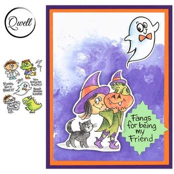 QWELL 4*6 pulgadas sellos transparentes fantasma momia niño DIY arte de colección de recortes papel de álbum confección de tarjetas plantilla 2020 nuevo
