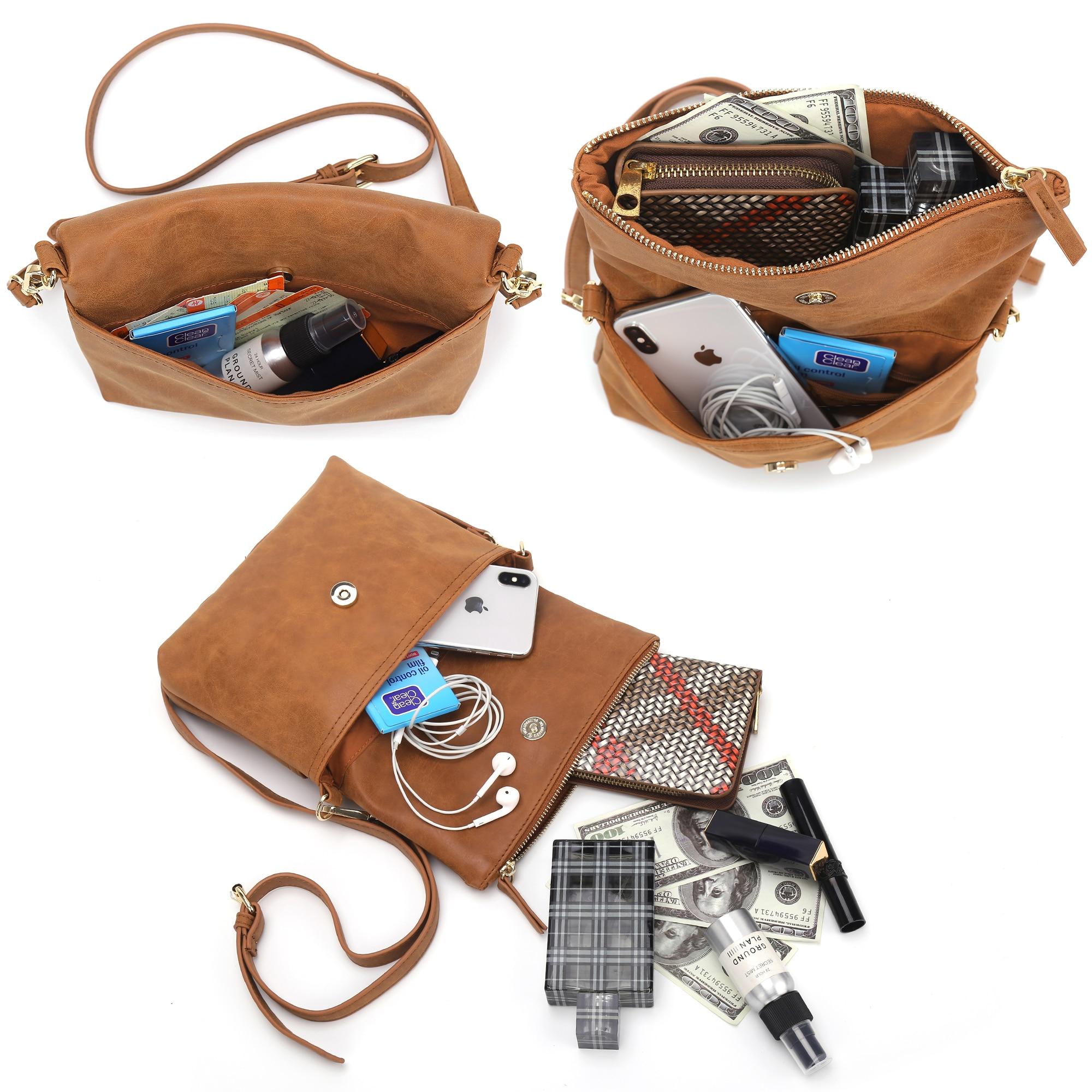 Image 4 - Women Shoulder Bag Soft Female Flap Crossbody Bag Brown PU  Envelope Clutch Bag Ladies Simple Daily Messenger Bag  HandbagCT30080Top-Handle Bags