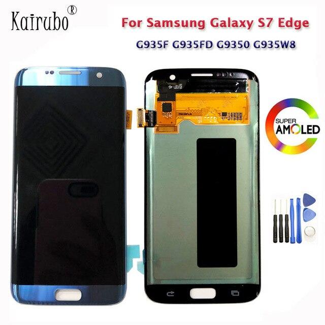 """5.5 """"süper AMOLED mükemmel ekran Samsung Galaxy S7 kenar lcd ekran G935 G935F G935A çerçeve ile şasi No  yanık gölge ve kusurları"""