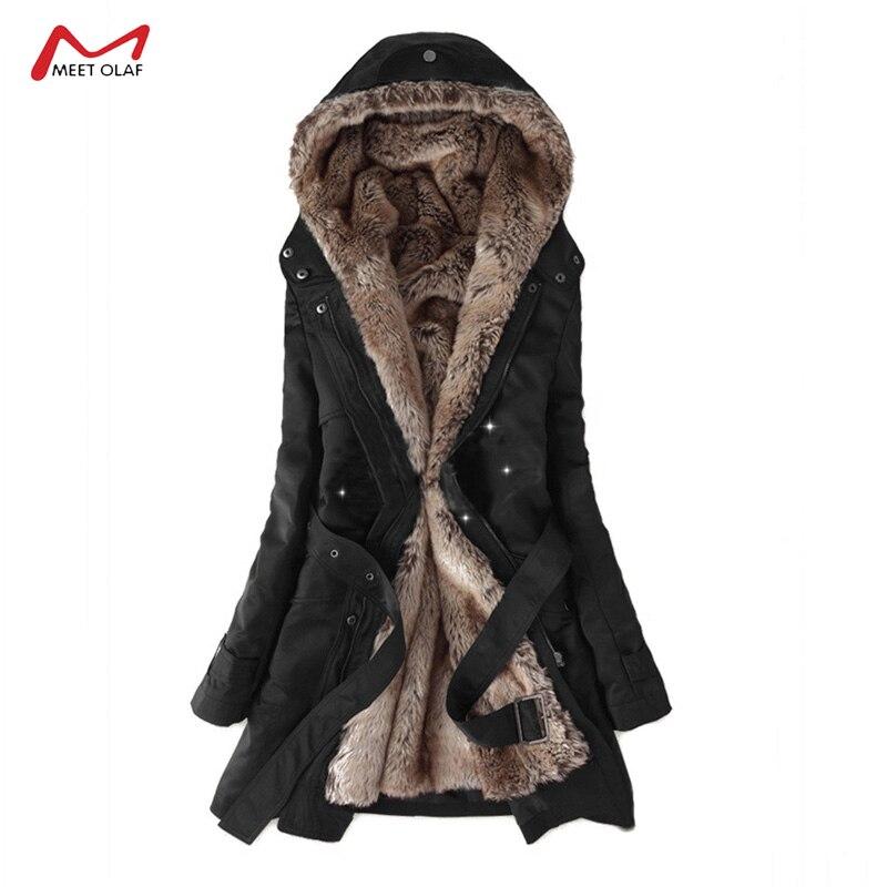 2019 Women Winter Long Coat Female Casual Thick Warm Jacket Long Sleeve   Parkas   Ladies Basic Coat Plus Size CA3113