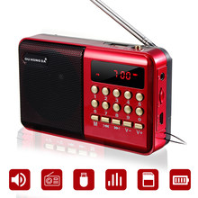 Mini Radio portátil de mano Digital FM USB TF reproductor MP3 altavoz recargable
