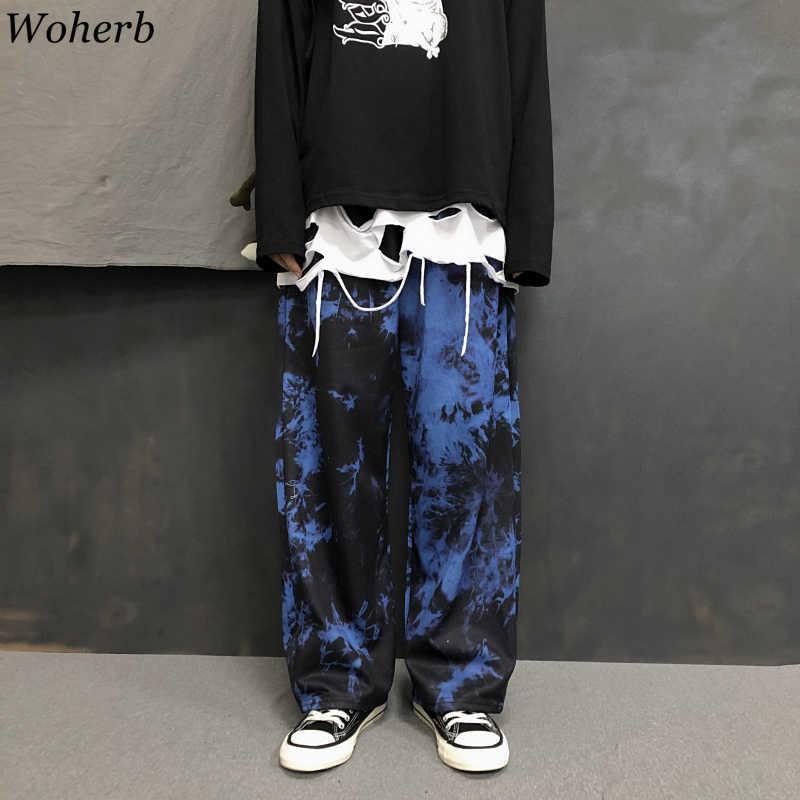Woherb Corbata Tinte Dibujo De Carga Suelta Jogger Pantalon De Pierna Ancha Harajuku Streetwear Coreano Pantalon Punk Mujer Y Hombre Hip Hop Pista 2021 Pantalones Y Pantalones Capri Aliexpress