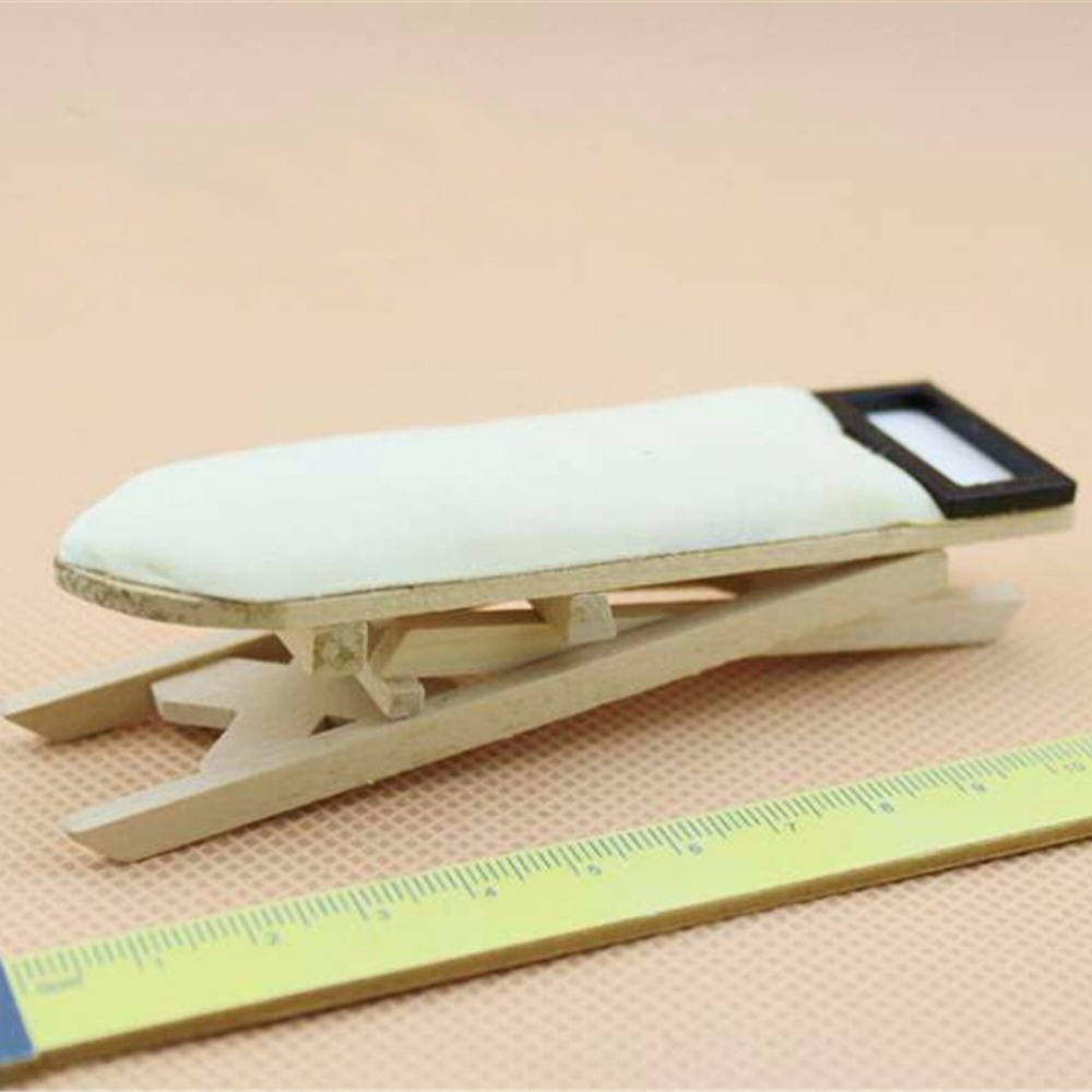 1: 12 Scale Dollhouse Miniature Iron with Ironing Board Doll House Furniture Dollhouse Room Decoration Children Girls Toy Gift