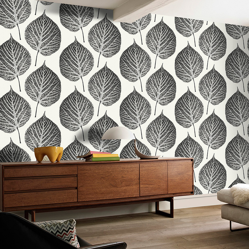 Modern Minimalist Northern European-Style Black And White Leaf Wallpaper Foreign Trade 3D Leaves Bedside Sofa TV Background Wall