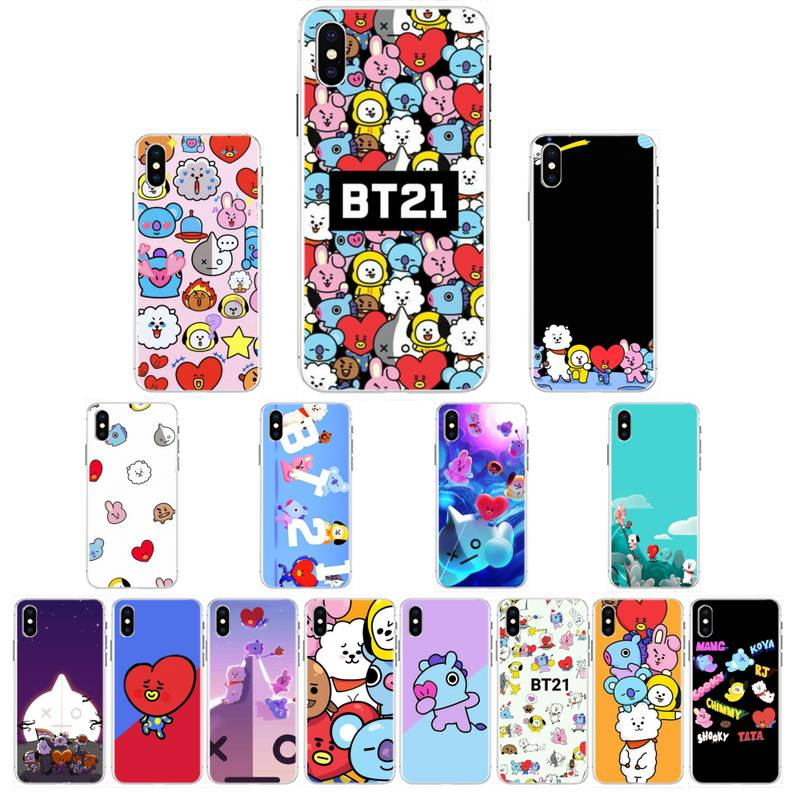 BTS BT21 DIY Painted Bling 전화 케이스 전화 케이스 커버 for iPhone 6S 6plus 7 7plus 8 8Plus X Xs MAX 5 5S XR 10 image