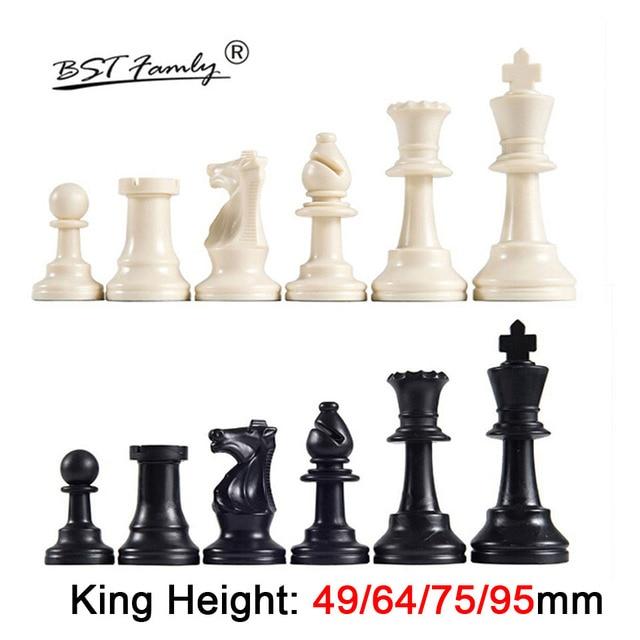 Pièces d'échecs en plastique 32 pièces jeu d'échecs roi hauteur 49/64/75/95mm jeu d'échecs Standard échiquier médiéval pour les jeux de voyage IA13 1