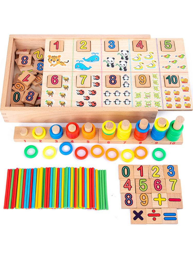 1 Set Wooden Montessori Math Toys Math Learning Box For Toddlers Kids Preschool Education
