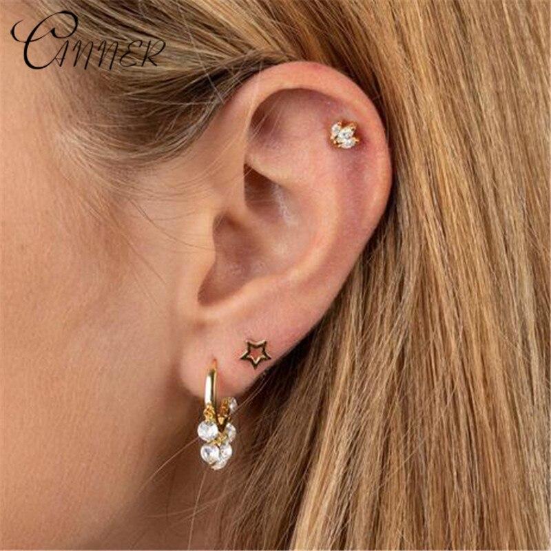 CANNER Minimalist 925 Sterling Silver Rhinestone Small Stud Earrings For Women Jewelry Cute AAA Zircon Horse Eye Korean Earrings