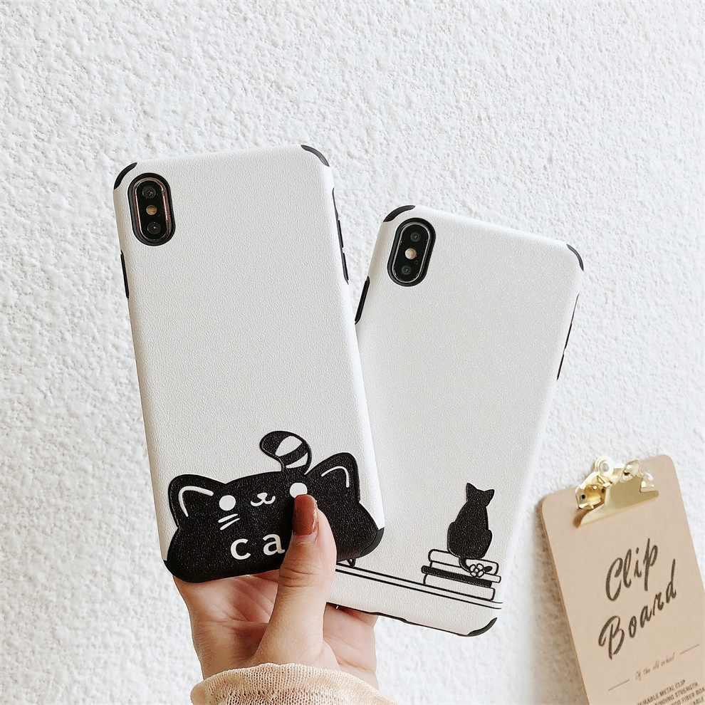 DTFQ Padrão Em Relevo a Impressão de Seda Lindo Gato Bonito TPU Soft Case Capa Da Pele para o iphone 8 6 7 Plus s xs Max X XR