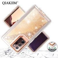 3 in 1 di Scintillio 3D Bling Liquid Quicksand Trasparente Della Cassa Antiurto Per Samsung Galaxy S10 Più S20 Nota 10 9 8 S8 S9 S7 Copertura