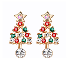Fashion Christmas Tree Rhinestone Earrings For Women Super Flash Color Dangle Earring Female Jewelry Christmas Gift