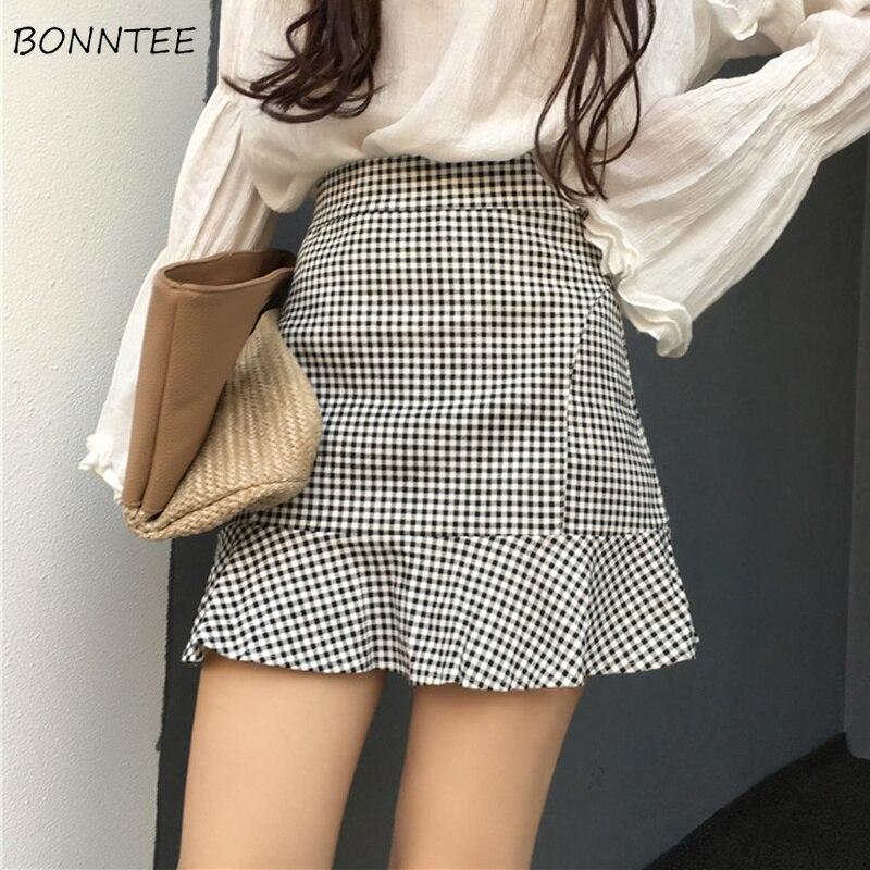 Skirts Women Plaid Trumpet High Waist Mini Skirt Womens Summer Females Retro Ladies Elegant Korean Style Leisure Trendy Female