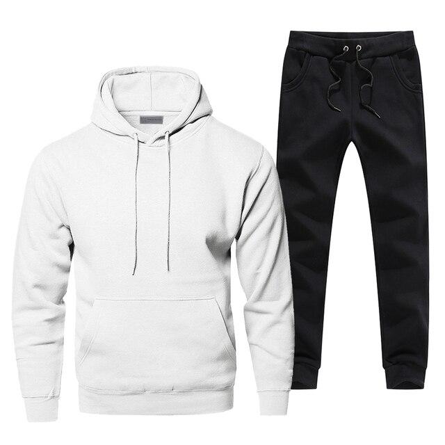 Solid Color Mens Full Suit Tracksuit Simple Style Sweatpants Hoodies For Men Pure Color 2 Piece Set Fitness Sets Warm Streetwear