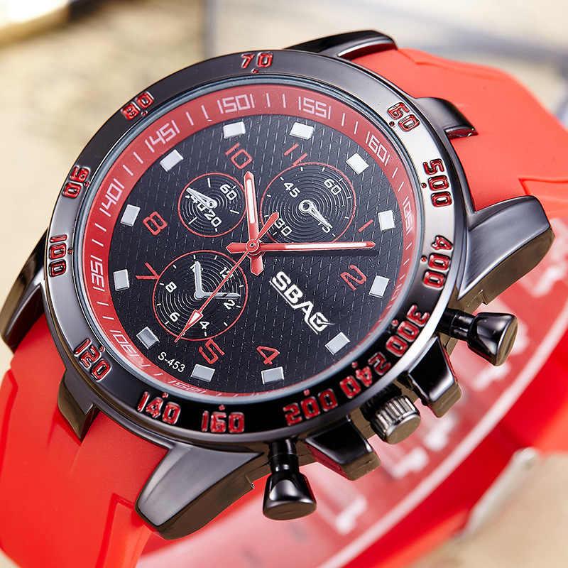 SBAO ที่มีประสิทธิภาพสูงผู้ชายกีฬานาฬิกาคุณภาพสูงทนทานซิลิโคนทหารผู้ชายสีสันสดใสนาฬิกาข้อมือควอตซ์ reloj hombre