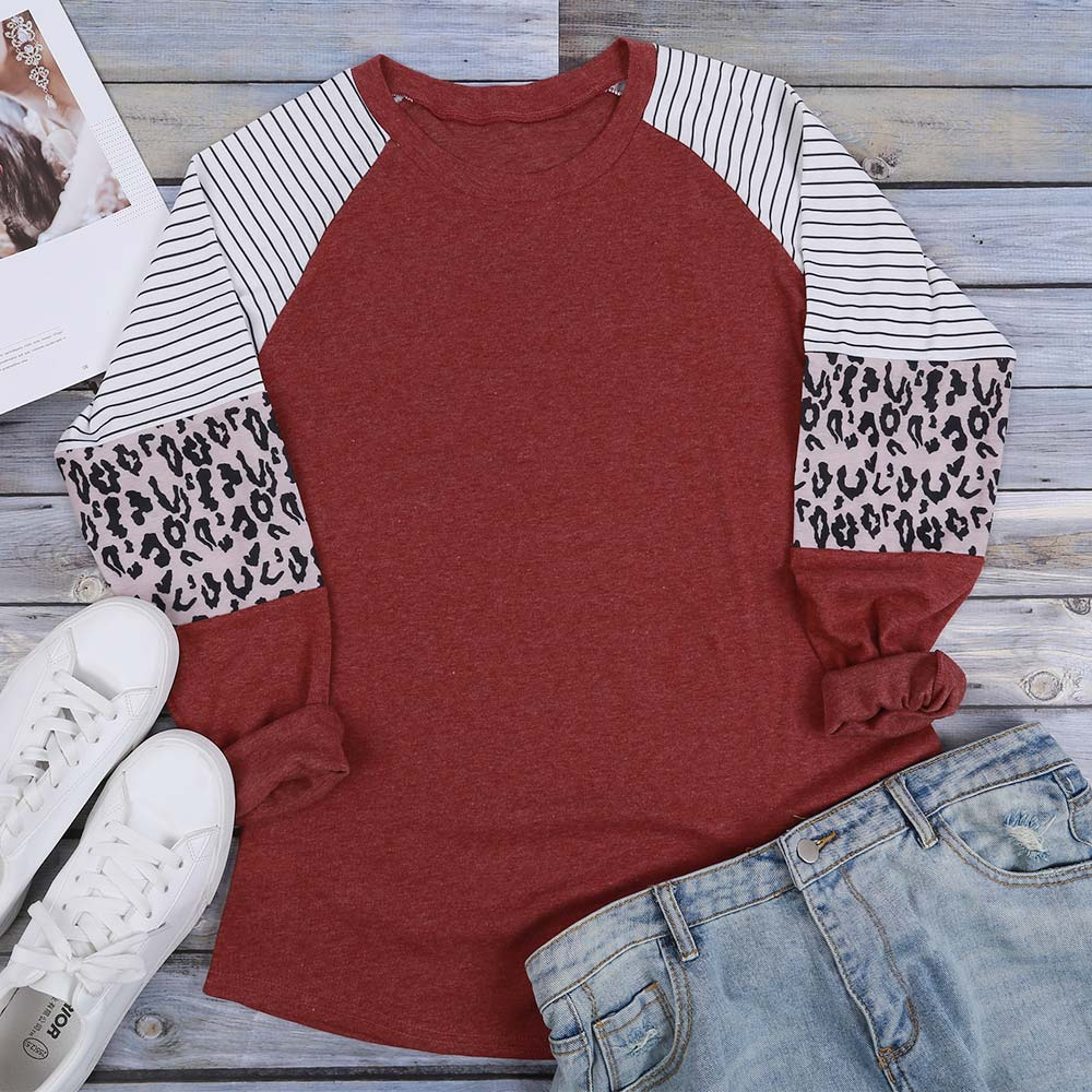 Women Striped Leopard Patch Baseball Long Sleeve T-Shirt Femme Plus Size Tee Top Shirt Korean Casual Basic Clothes Trendy Autumn