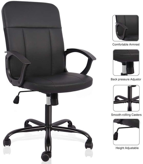 Office Chair, Mid Back Leather Desk Chair, Computer Swivel Office Task Chair, Ergonomic Executive Chair with Armrests 3