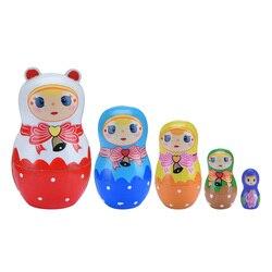1 комплект русская матрешка куклы деревянный ручной работы для девочек Роспись Игрушки для детские, для малышей подарок Muñecas матрешка