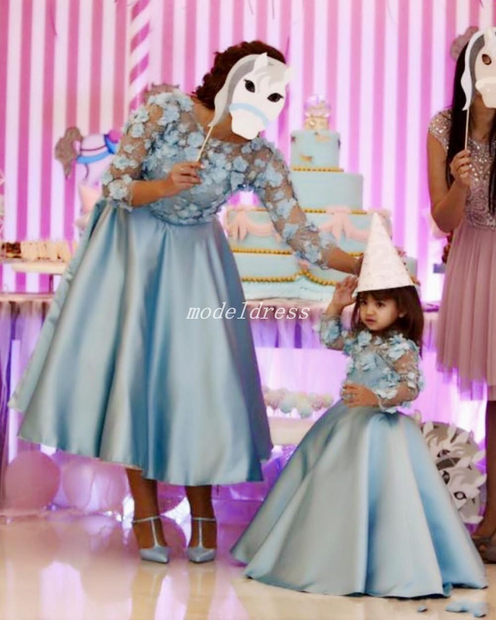 Dusty Blue Flowers Vestido Novia 2018 Long Sleeve Backless Tea Length Floral Women Prom Party Gowns Mother Of The Bride Dresses