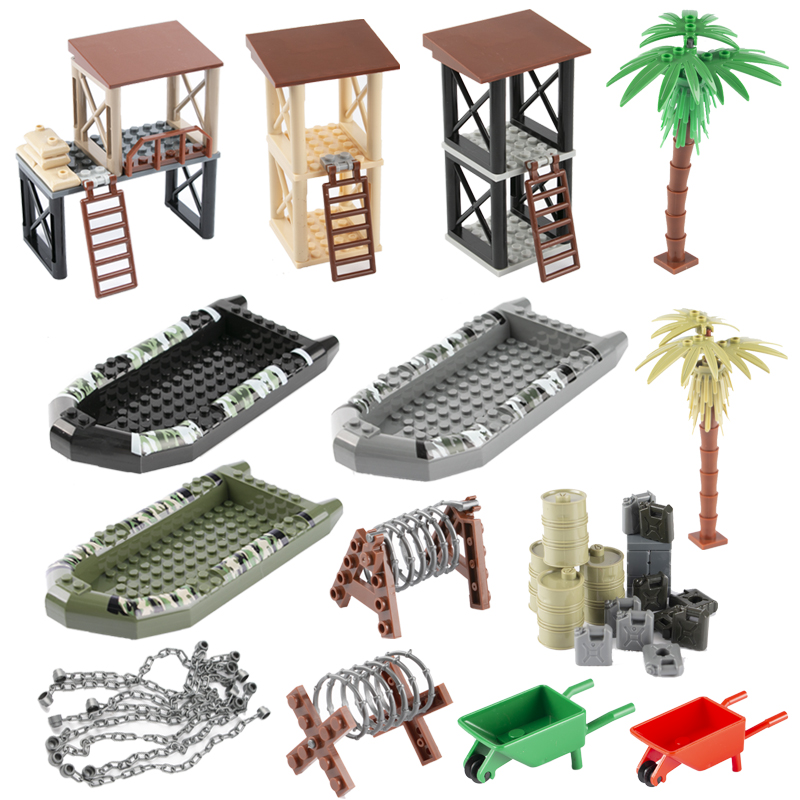 WW2 Military Weapon Accessories Building Blocks Sentry Port Oil Barrow Cart Ship Army Camo Boat MOC City Series Brick Toys C128