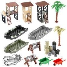Ww2 arma militar acessórios blocos de construção sentry porto carrinho de mão óleo navio do exército camo barco moc cidade série tijolos brinquedos c128