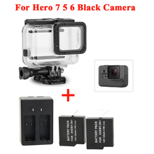 2pcs For GoPro Hero 5 6 7 Battery and Charger+Waterproof housing Case Protective shell Hero7 Hero5 Black Accessories