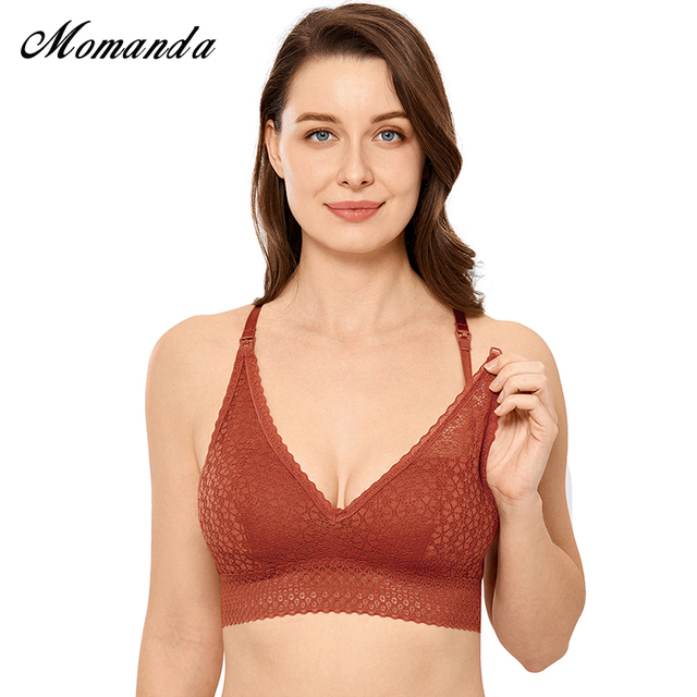 MOMANDA Nursing Maternity Bra Lace Bralette Lightly Lined Wireless Pregnancy Breastfeeding Clothing
