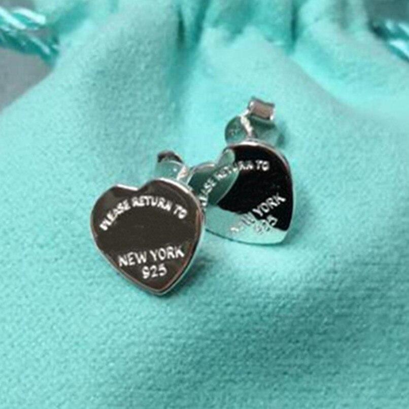 Классические женские серебряные серьги в форме сердца из стерлингового