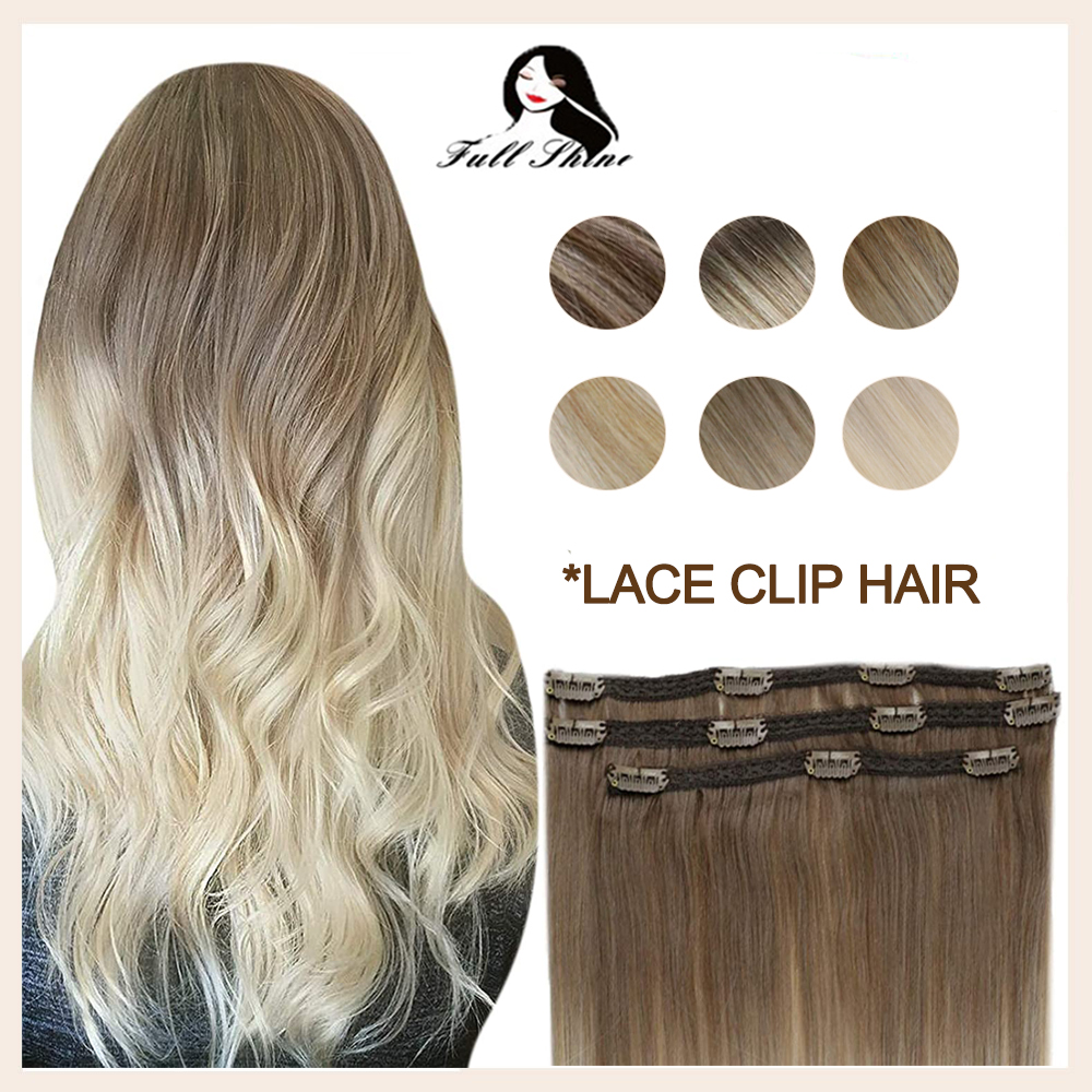 Full Shine Hair Clips Natural Human Hair Extensions Balayage Ombre Color 50g Clip Hair Extensions Remy Hair With Lace 3 Pieces
