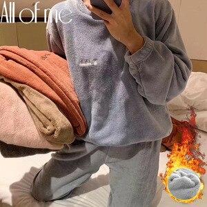 Women's Pajama Set Warm Flannel Pajamas Sleepwear Homewear Thick Winter Velvet Female Plush Pyjamas Suit Sweatshirt Hoodies