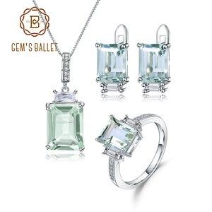 Image 1 - GEMS בלט 925 סטרלינג תכשיטי כסף סט לנשים טבעי מתומן ירוק אמטיסט עגילי טבעת תליון סט תכשיטים
