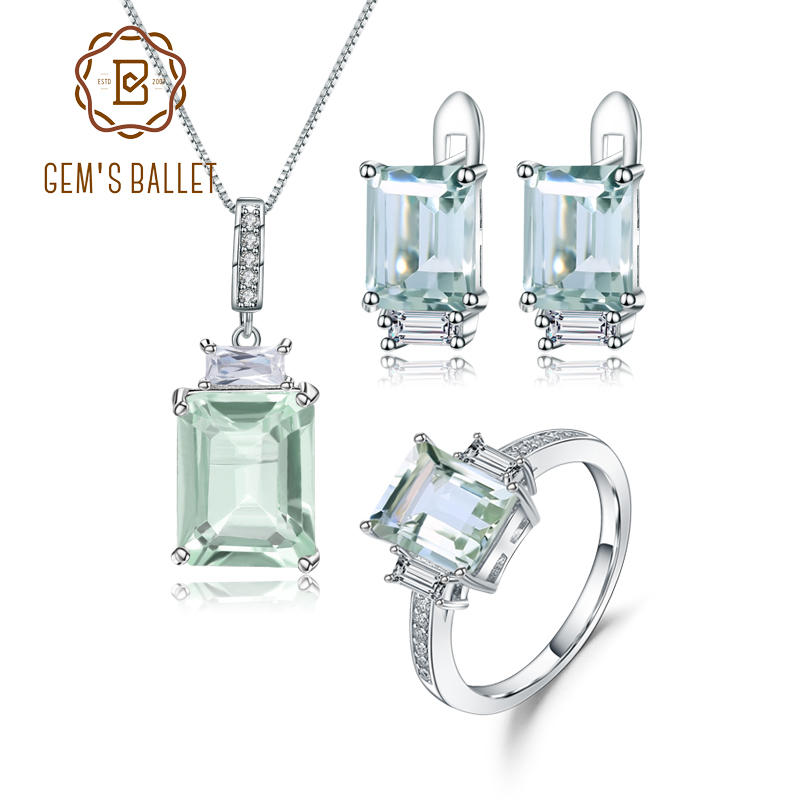 GEM'S BALLET 925 Sterling Silver Jewelry Set For Women Natural Octagon Green Amethyst Earrings Ring Pendant Set Fine Jewelry-in Jewelry Sets from Jewelry & Accessories    1