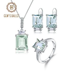 Image 1 - GEMS BALLET 925 ensemble de bijoux en argent Sterling pour les femmes naturel octogone vert améthyste boucles doreilles anneau pendentif ensemble de beaux bijoux