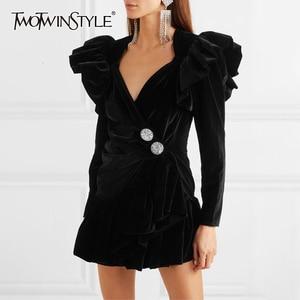 Image 1 - TWOTWINSTYLE zarif Patchwork elmas fırfır elbise kadın V boyun uzun kollu yüksek bel elbiseler kadın 2020 sonbahar moda