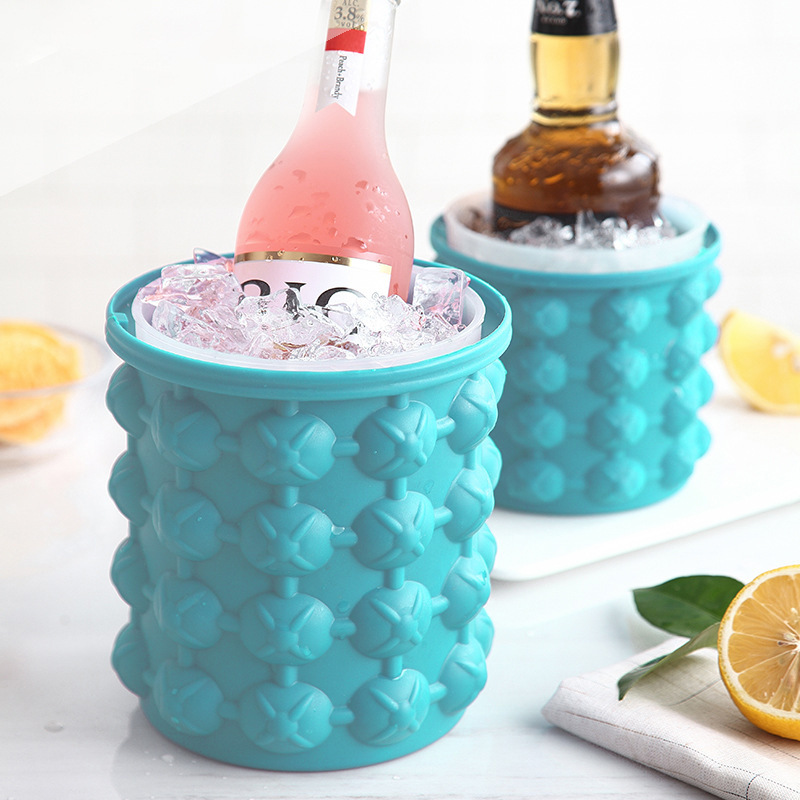 Portable Ice Bucket Silicone Ice Cube Maker Molds Wine Cooler Beer Cabinet Space Saving Kitchen Bar Tools Whiskey Freeze(China)