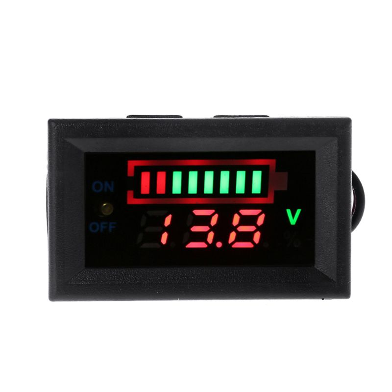 12V <font><b>Car</b></font> Lead Acid <font><b>Battery</b></font> Capacity Indicator Voltmeter Power Tester with Switch image