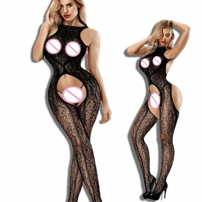 Plus Size Bodystocking Lingerie Erotische Babydoll fetish Ondergoed latex catsuit Sexy Kostuums lenceria mujer crotchless body pak