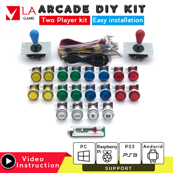 2 player kit arcade zero delay mando arcade usb encoder to PC Rasberry PI sanwa joystick arcade cabinet mame game console