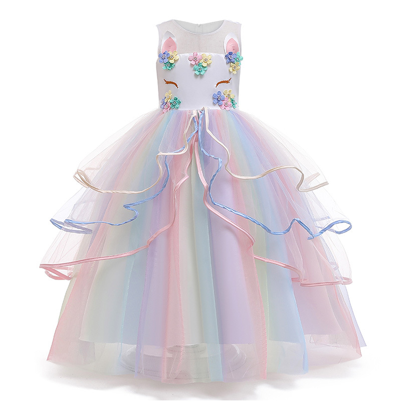 Kids Girls Wedding Girl Dress 2020 Long Gown Unicorn Lace Color Matching Girls Gradient Fluffy Dress for Girls Formal Clothes