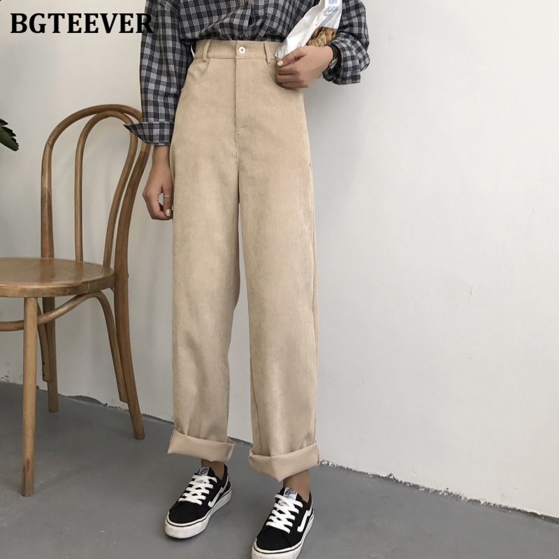 BGTEEVER Spring Autumn Vintage Corduroy Pants Female High Waist Loose Pants Casual Straight Pants Femme Pantalon 2020