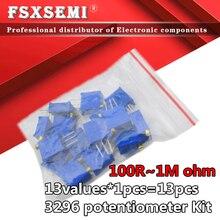 13values*1pcs=13pcs 3296W adjustable potentiometer Kit contains 3296 100R 200R 500R 1K 2K 5K 10K 20K 50K 100K 200K 1M ohm